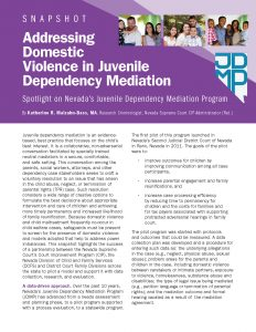 Addressing Domestic Violence in Juvenile Dependency Mediation: Spotlight on Nevada's Juvenile Dependency Mediation Program