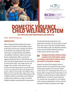 The Impact of Domestic Violence in the Child Welfare System: Key Points for Court Professionals and Advocates
