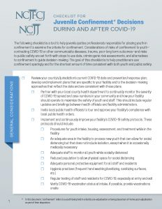 CHECKLIST FOR Juvenile Confinement* Decisions DURING AND AFTER COVID-19